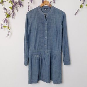 J. Crew Blue Chambray Long Sleeve Dress
